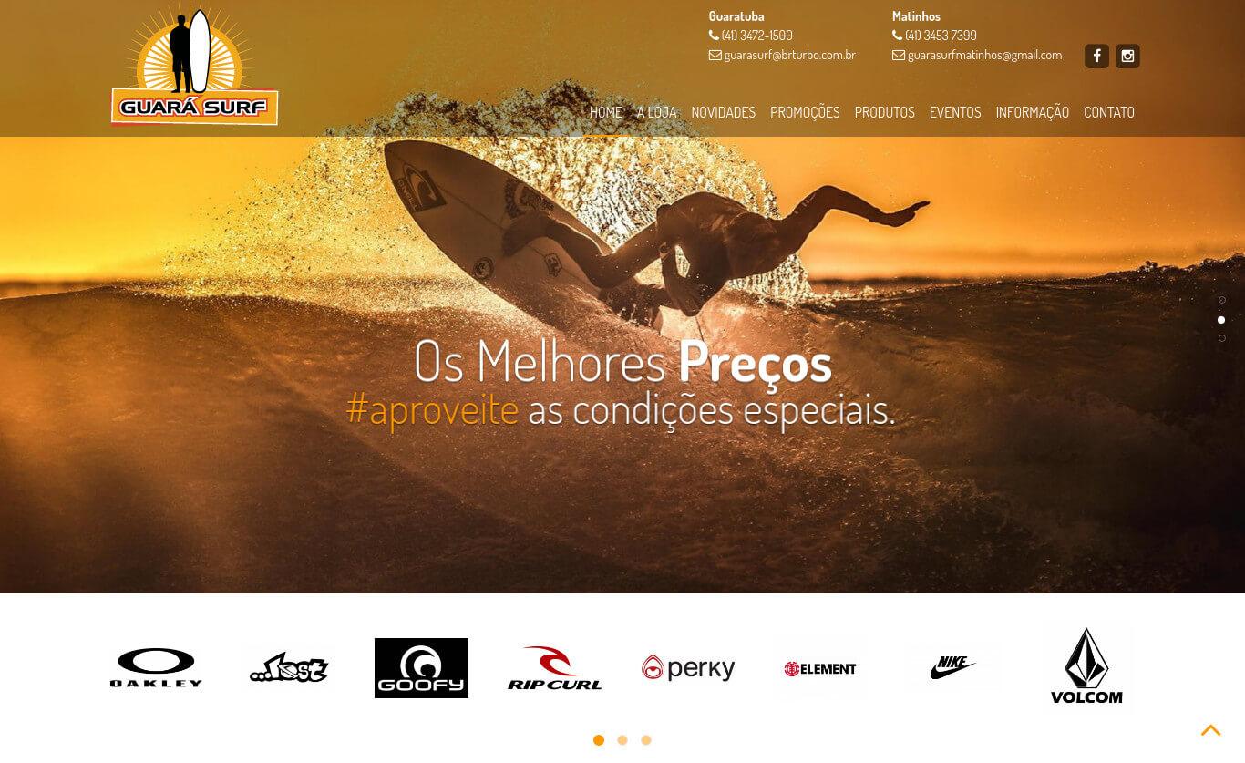 Website institucional da tradicional loja de moda surf de Guaratuba, Guara Surf em Guaratuba/PR.