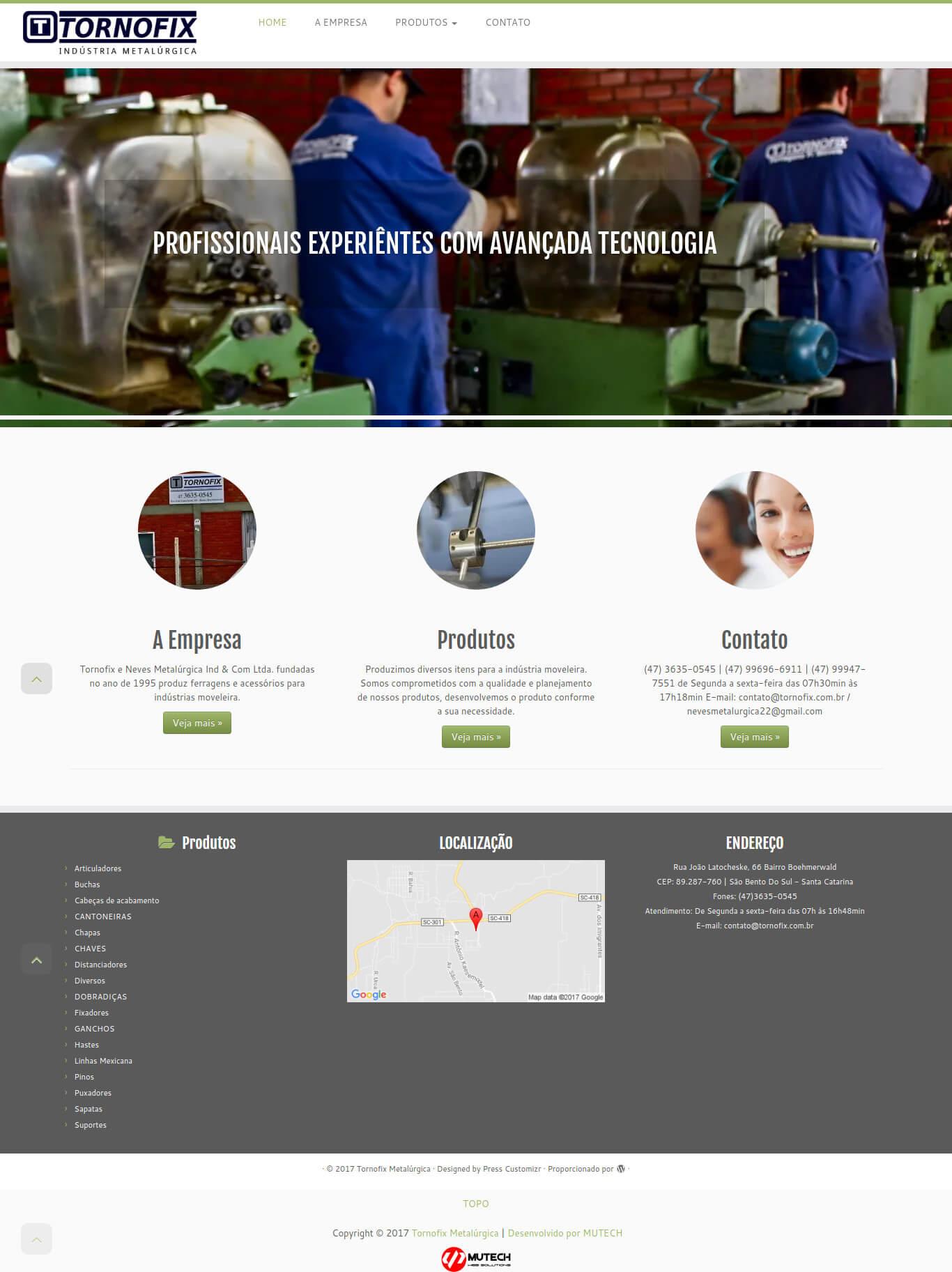 Website institucional da Indústria Metalúrgica Tornofix de São Bento do Sul/SC.