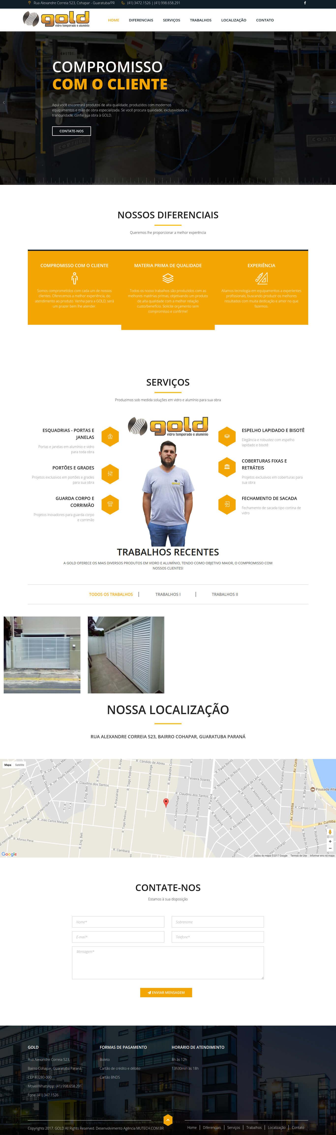 Website institucional de uma das mais conceituas empresas de esquadrias e vidros de Guaratuba/PR. Gold Vidro Temperado e Alumínio.