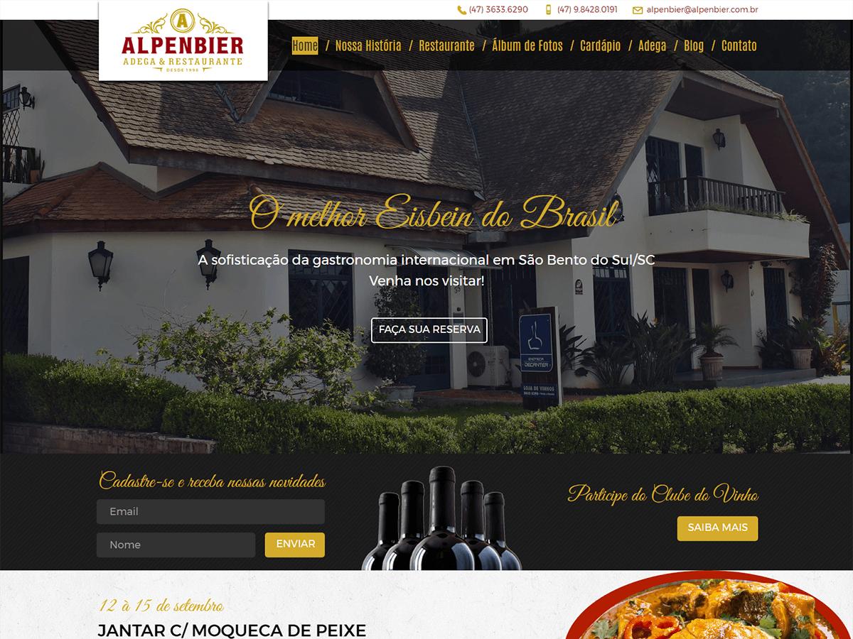 Website institucional da mais tradicional Adega e Restaurante de São Bento do Sul, Alpenbier.