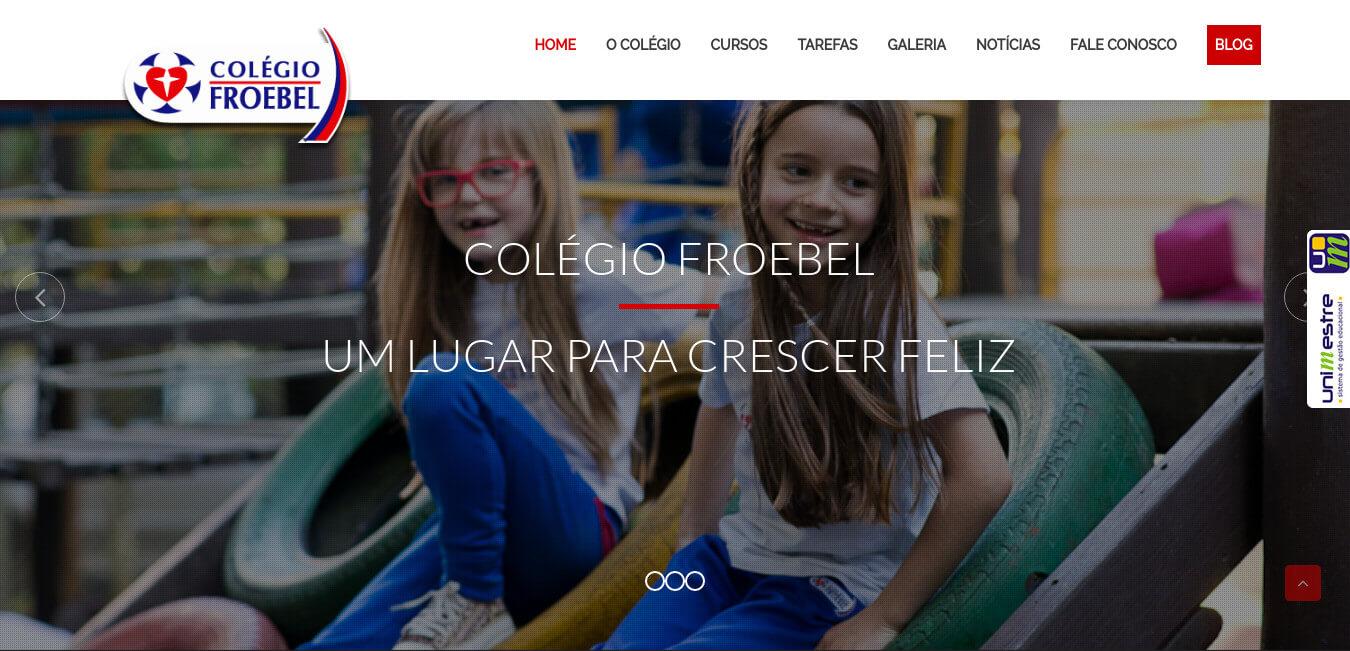 Website institucional de um dos tradicionais colégios de São Bento do Sul, colégio Froebel.