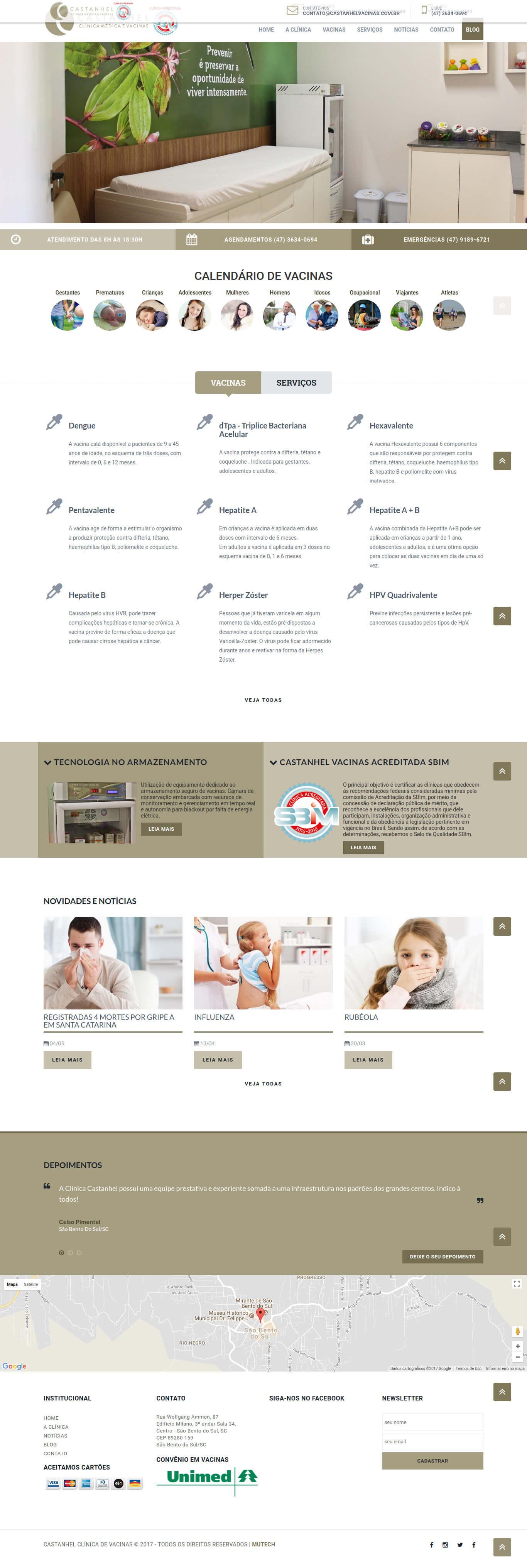 Website institucional da Clínica de Vacinas Castanhel, única Acreditada pela Sociedade Brasileira de Imunização do Planalto Norte Catarinense.