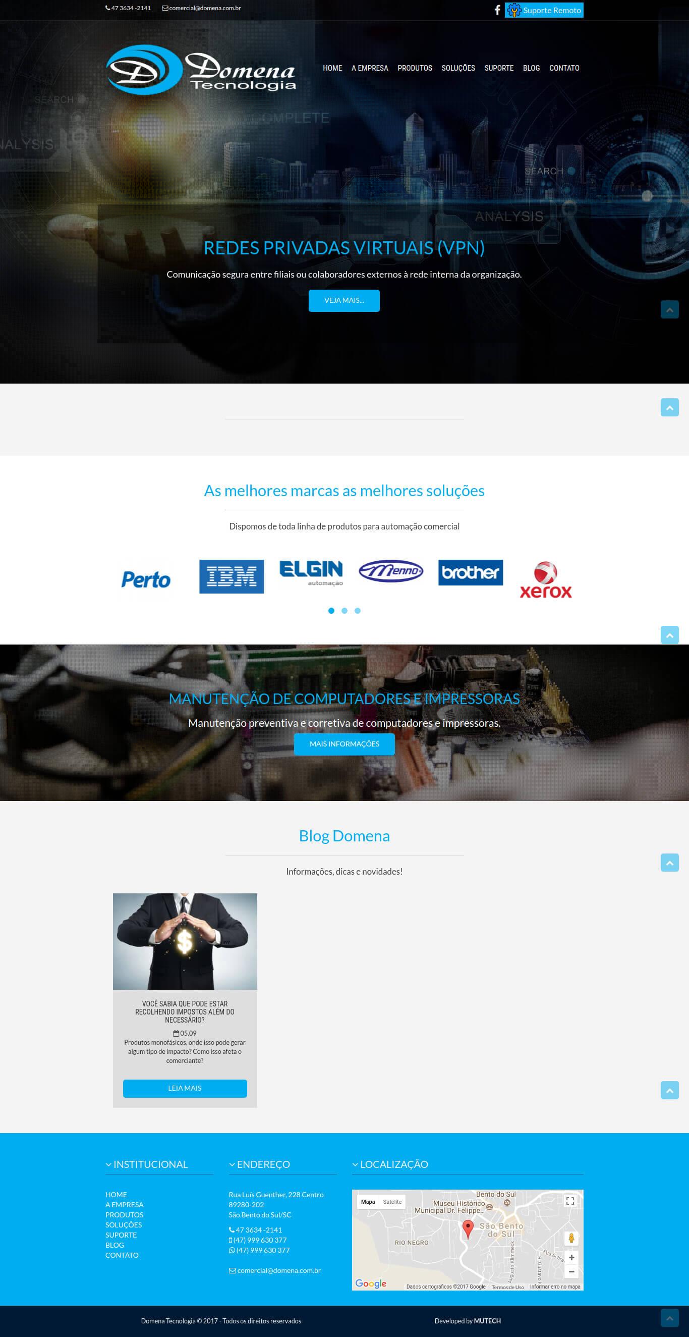 Website institucional da tradicional empresa de automação comercial de São Bento do Sul/SC, Domena Tecnologia.