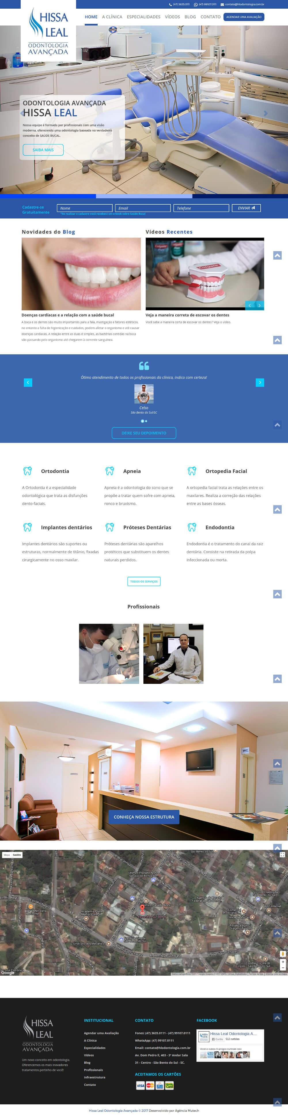 Web Site Institucional de uma das mais tradicionais Clínicas Odontológicas de São Bento do Sul/SC.